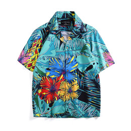 summer shirts designs flowers print Promo Codes - 2019 New Design Summer Short Sleeve Loose Fitted Casual Floral Print Button Down Beach Shirts Men Brand Patterned Flower Shirt