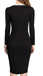 694f64ed2fd MUSHARE Women s Colorblock Wear to Work Business Party Bodycon One-Piece  Dress