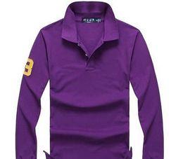 2020 menino polos 2019 camisa Polo Sólidos Homens Luxo Polo longo Men luva s Básico Top Cotton Polos For Boys Marca Designer Polo Homme FC04 menino polos barato