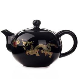 Teiere nere online-Teiera di ceramica nera Teiera di drago cinese Teiera fatta a mano teiera facile teiera in ceramica Set per tè in ceramica Bollitore Kung Fu Teaware