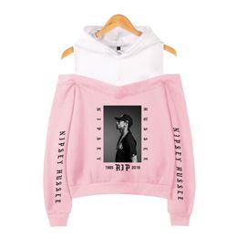 Kadın Giysileri 2019 Kapüşonlu Sweatshirt Nipsey Hussle Harajuku Kawaii Pembe Kapalı Omuz Hoodie Kore Sokak Moda Özel nereden