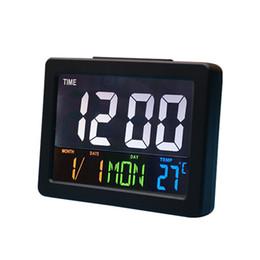 Большие дисплеи цифровые настенные часы онлайн-Современные цифровые светодиодные настольные ночные настенные часы с будильником 24 или 12-часовой дисплей простой и модный внешний вид большой экран