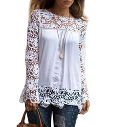 165483d3d2b0a4 Mode Blusen Frauen Plus Größe S-7xl Tops Spitze Weiß Shirts Langarm  Aushöhlen Tunika Dame Sommer Herbst Blusas Weibliche Q190523