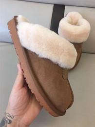 2019 größe 44 sandalen Marke Frauen Männer Pelz Rutschen Pelz Hausschuhe Sandalen Designer Australien Schneeschuhe Slip On Loafers Winterschuhe 34-44 Plus Größen 2019 C72207 günstig größe 44 sandalen
