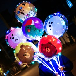 bobo cartoon Coupons - LED Cartoon Bobo Ball Balloon Luminous Light Up Transparent Balloons Toys Flashing Balloon with Stick for Festival Party Wedding Decor