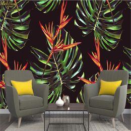 Grandes murais de parede florais on-line-Papel de parede personalizado grande parede murais de parede adesivos aquarela Nordic pintados à mão parede floral fundo