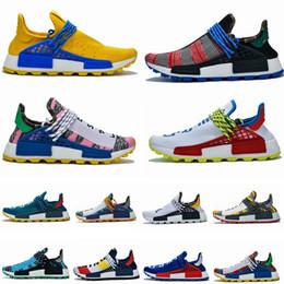 Muestras de mujer online-2019 NMD Human Race Zapatillas de running para hombre Pharrell Williams de muestra Amarillo Núcleo Negro Diseñador de zapatos deportivos Zapatillas de deporte para mujer 36-47