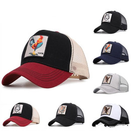 hot cock men Coupons - Hot Fashion Baseball Hats Summer Visor Mesh Caps Unisex Embroidered Animals Cock Hat Men Women Adjustable Ball Cap Couple Gift