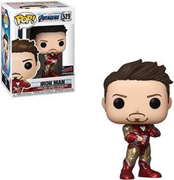 Caja de vengadores online-Funko Pop Marvel Avengers 4 Iron Man Infinito guantelete figuras de acción de juguete de colección con la caja de Juegos de construcción para niños juguete de regalo de cumpleaños # 529 B1