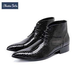 bella dresses Promo Codes - Christia Bella Winter Fashion Men Boots Genuine Leather Ankle Boots Plus Size Men Lace-Up Bullock Party Formal Dress Shoes