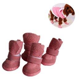 Sapatos de vestido de cachorro on-line-1 Set 4pcs Pet Inverno sapatos quentes Botas filhote de cachorro mistura de algodão Neve do inverno botas de caminhada quentes bonito Fancy Dress Up Pet Dog S ~ L2 outubro # 2