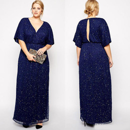 892afb34fc7 2019 Navy Sequined Plus Size Mother Of The Bride Dresses V Neck A-Line  Formal Dress Floor Length Keyhole Back Evening Gowns With Sleeves