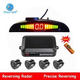Sensore parktronic online-OkeyTech parcheggio LED del sensore 4 sensori Auto Kit Parktronic Reverse Backup Radar Detector Monitor sistema di retroilluminazione display