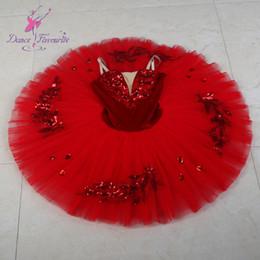 traje de spandex vermelho Desconto New Red Pré-profissional Ballet Tutu Menina Mulheres Performance de Palco Ballet Costume Ballerina Dança Tutu