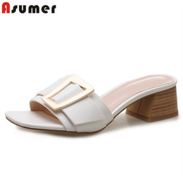 ASUMER 2019 New arrive high quality pu leather women sandals 4cm square heel buckle summer mules for women ladies dress shoes LY191129