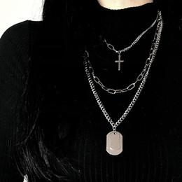 Многослойные панк серебряные цепочки крест ожерелье пара мода уличный хип-хоп геометрический металлический кулон ожерелья для женщин от