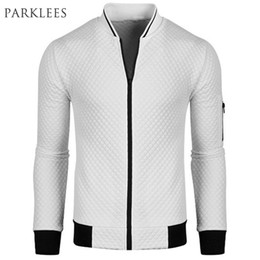 New White Bomber Jacket Men Blouson Homme 2016 Mens Fashion Pu Leather Sleeve Splice Argyle Zipper Baseball Varsity Jacket Xxl