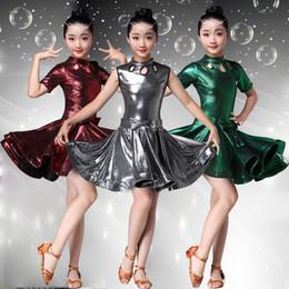 vestidos de rosa vermelha para crianças Desconto Prata rosa vermelha dança latina dress para meninas mangas padrão de dança de salão vestidos para crianças desempenho desgaste roupas salsa