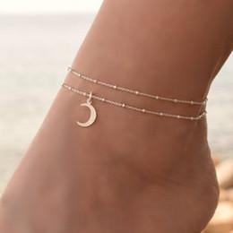Fußschmuck online-Gold Silber Knöchel Armband Frauen Fußkettchen Einstellbare Kette Fuß Strand Exquisite Ornamente Armband Attraktive Anhänger Armband