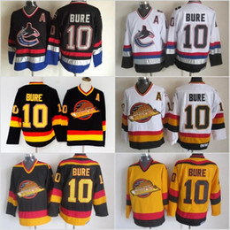 Authentisches hockey online-Herren 10 Pavel Bure Vancouver Canucks Eishockey-Trikots Vintage CCM Authentic Stitched Trikots Weiß Schwarz M-3XL