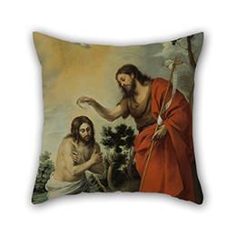 Pintura a óleo christ on-line-Boa Escolha para a Família, Divã, Esposa, Home Theater, Saloon, Quarto Pintura A Óleo Esteban Murillo O Batismo de Cristo Fronha