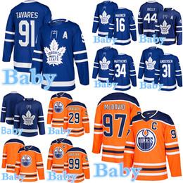 Baby-hockey-trikot online-Baby Trikot Toronto Maple Leafs Edmonton Oilers 97Connor McDavid 16Mitchell Marner 34 Matthew 91 John Tavares Kinder Hockey Trikots