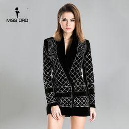vestido sexy com veludo v pescoço Desconto Missord 2017 sexy com decote em v de manga comprida geométrica studded veludo blazer dress ft3612 strass