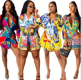 2019 designer vestido de camisa de impressão floral 19ss Mulheres Camisa Designer Vestido de Luxo Floral Impresso Único Breasted Casual Vestidos Soltos Vestidos Outono designer vestido de camisa de impressão floral barato