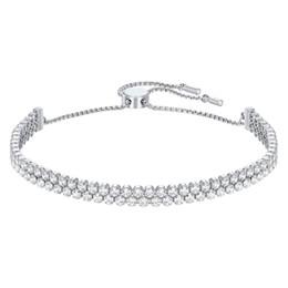 407e422c712b Swarovski nueva moda exquisita elegancia temperamento cristal salvaje  pulsera de doble hilera joyería 5221397 novias novias regalo