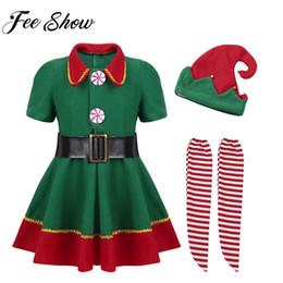 Abbigliamento per bambini per bambine Vestito verde con calzamaglia rossa per cappelli da Babbo Natale Set per costume di festa di Natale Xmas Dress Up Y190515 da