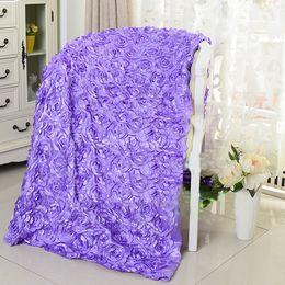 Tissu rosette rose fleurs en Ligne-(1.4mx11yard) Fleurs Rose 3D Appliqued Tableau de mariage Tapis Tissu Rose Backdrop Floral bébé Photographie Props Rosette Tissu