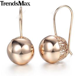 Brincos de gota de bola de ouro rosa on-line-Trendsmax brincos de bola suave para as mulheres meninas 585 rose gold brincos de gota 2018 moda jóias presentes de amor para as mulheres ge66