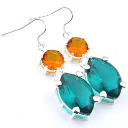 for brazil Coupons - Luckyshine Christmas Day 2 Pcs Lot 925 Silver Plated Green Horse eye Round Brazil Citrine Crystal Earrings for Lady Party Gift