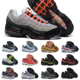 chaussures semelles bleues designer Promotion 2019 Nike Air Max 95 shoes New Airmax 95 Hommes Courir Chaussures de sport de luxe de l'air Noir Sole Gris Bleu Tennis Formateurs Mode Chaussures de sport