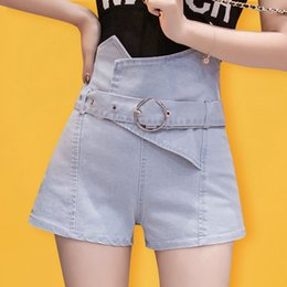 01968da37 2019 xl shorts de mezclilla cintura alta Shorts de mezclilla con cinturón  Pantalones cortos de mezclilla
