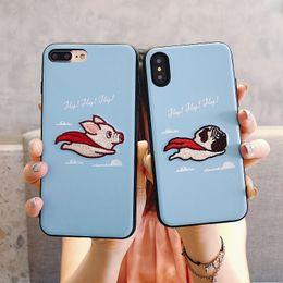 2019 cerdo iphone Para Iphone Xr Xs Max Phone Case Flying Cartoon Pig Puppy Bordado 6 7 8 X Plus TPU Soft Edge Cajas del teléfono celular cerdo iphone baratos