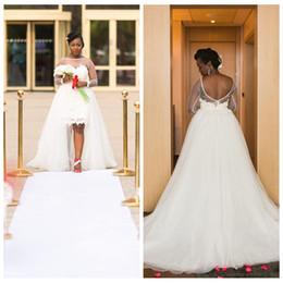 0c5cf2956406f Discount black mini dress detachable train - Sheer Long Sleeves Lace Appliques  Sheath Wedding Dresses With