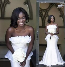 Mädchen robe größe 12 online-2020 afrikanische schwarze Mädchen plus size-Hochzeitskleider, Brautkleider mit Schößchen Abendkleider Robe de mariée Gewohnheit vestidos de novia