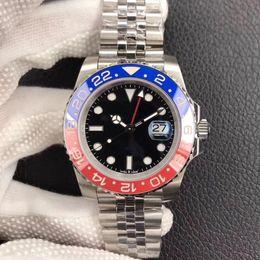 deportes baratos pins Rebajas DJ nuevo anillo de cerámica azul rojo reloj de lujo 40mm reloj para hombre de lujo antirreflectante convexa amplificación 2836, reloj mecánico