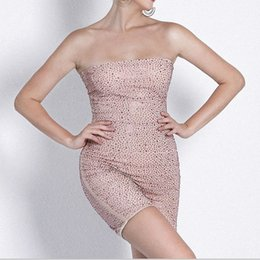 12b272c014 2019 New Ladys Strapless Sexy Backless Women Bandage Jumpsuits Club Pink  Diamante Fashion Slim Bodysuit Romper Women Short Playsuit Jumpsuit
