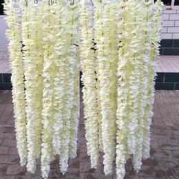 2019 artificial suspensão glicínias flores brancas 1 Metros Elegantes Pendurado Orquídea Flor De Seda Artificial Videira Branca Wisteria Garland Ornament para Festival de Casamento Decoração Do Jardim Planta Falso