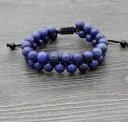 Pietra lazuli online-yyy1 8 millimetri due lazuli di lapis di fila regolati Macrame fascino intrecciato intrecciatura corda il braccialetto dei braccialetti Incanto regalo donne perline uomini