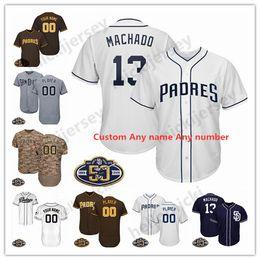 2019 patches de logotipo Personalizado 13 Manny Machado Jersey San Diego 50 Patches Padres qualquer nome qualquer número Bordados Logos 100% costurado jersey patches de logotipo barato