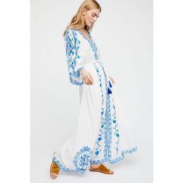 Длинные платья стиля хиппи онлайн-Лето осень дамы свободные рукава китайский стиль вышивка хиппи бохо люди длиной до лодыжки длинное платье женский Vestido