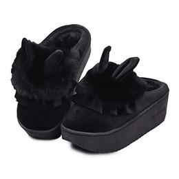 Обувь для кроликов онлайн-Мультфильм кролик уши туфли на платформе с мехом зимняя домашняя обувь женщины новые толстые подошвы нескользящей теплая обувь месяца милые плюшевые тапочки