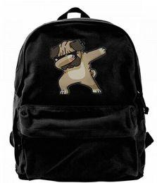 2019 lindas mochilas para mujeres universitarias Dabbing Pug Divertido Lienzo Hombro Mochila Mochila Linda Para Hombres Mujeres Adolescentes College Travel Daypack Negro lindas mochilas para mujeres universitarias baratos