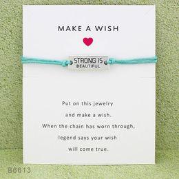 2019 pulseras de cadena para niños New Strong Is Beautiful Charm Wish pulseras con tarjeta de regalo Amistad infinito ajustable Wrap Bangle Para mujeres Joyería inspirada
