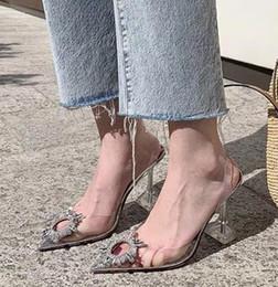 Плюс размер от 35 до 40 41 серебряный горный хрусталь пвх прозрачные ботинки женщин острым носом туфли на высоком каблуке свадебные туфли люкс дизайнер на высоком каблуке от