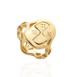 Ringe ketten schmuck online-nicht verblassen Fashion Designer Schmuck durchbrochene Schriftzug Ring Herren Schmuck Ketten Edelstahl Frauen Ringe Blume Ringe
