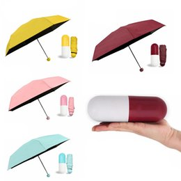 Anti sonnenschirm im Angebot-Mini-Kapsel-Frauen-Regenschirme Anti-UV-Regenschirm Ultra Light Five Folding Pocket Umbrellas Compact Kinder Winddicht Regen Sonnenschirme